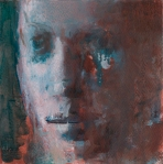 """Face/Sepia & Veridian 7x7"""" oil on paper"""