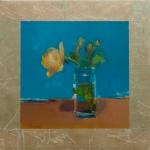 Kitsch I 17x17 oil & gold leaf on mylar