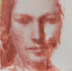 """Untitled/Indian Red 7x7"""" oil on paper"""