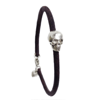 jewelry bracelet skull heart fine silver leather