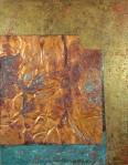 "Flora Davis ""Composition in Brass and Copper"" patined metal on panel 14x18x3 beginning bid $200 (value $600)"