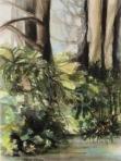 "Elise Odom ""Golden Gate Park"" watercolor 16x19 framed beginning bid $120 (value $350)"