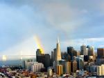 "Charlotte Kay, "" Rainbow and the Bay Bridge"",  25"" x 21"", Photography"