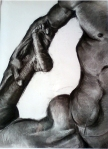 "Katerina Connearney, ""Male Nude"", 24"" x8"",Charcoal on Paper"